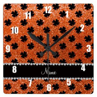 Personalized name orange glitter shamrocks square wall clock