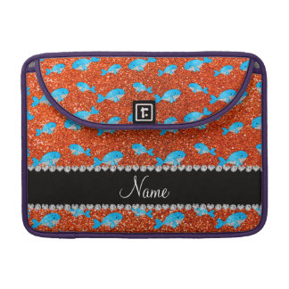 Personalized name orange glitter whales MacBook pro sleeves