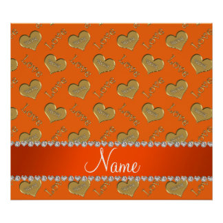 Personalized name orange gold hearts mom love poster