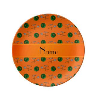 Personalized name orange gold mining porcelain plates