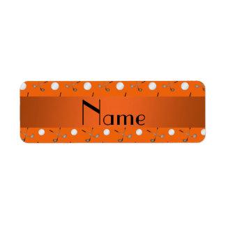Personalized name orange golf balls label