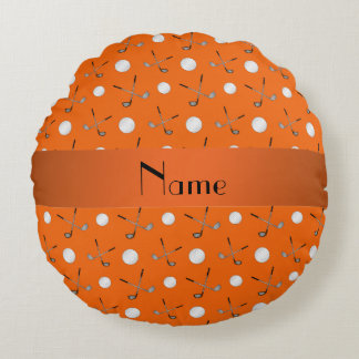 Personalized name orange golf balls round pillow