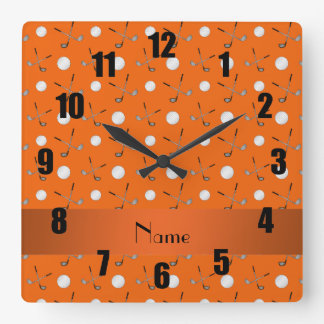 Personalized name orange golf balls square wall clock