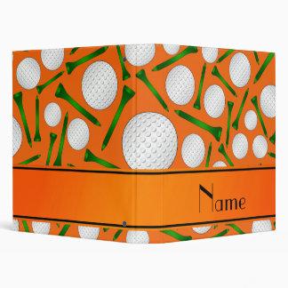 Personalized name orange golf balls tees binder