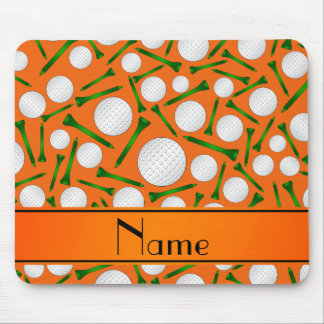 Personalized name orange golf balls tees mouse pad