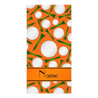 Personalized name orange golf balls tees photo card
