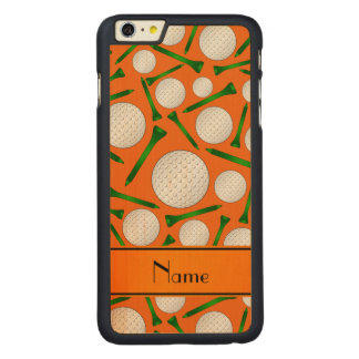 Personalized name orange golf balls tees carved® maple iPhone 6 plus case