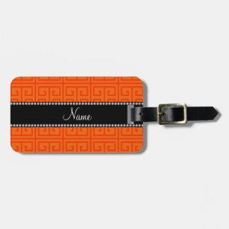 Personalized name orange greek key pattern bag tag