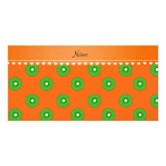 Personalized name orange green kiwi photo card