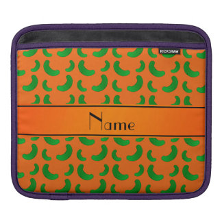 Personalized name orange green pickles iPad sleeve