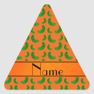 Personalized name orange green pickles stickers