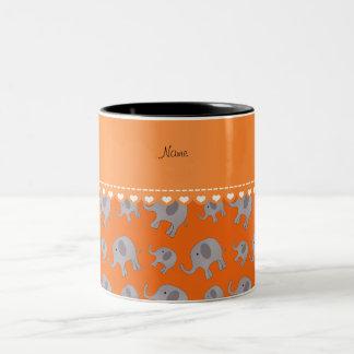 Personalized name orange grey elephants Two-Tone coffee mug