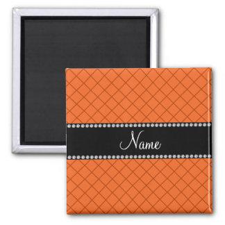 Personalized name orange grid pattern refrigerator magnets