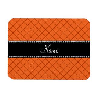 Personalized name orange grid pattern flexible magnet