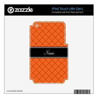 Personalized name orange grid pattern iPod touch 4G skins