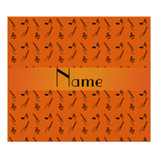 Personalized name orange guitar pattern posters