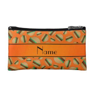 Personalized name orange hamburger pattern cosmetic bags