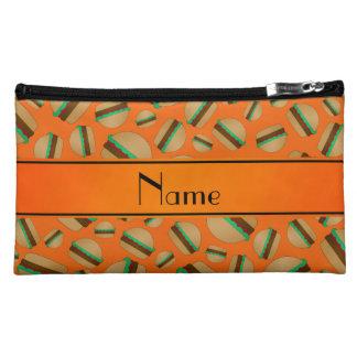Personalized name orange hamburger pattern cosmetics bags
