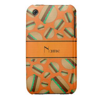 Personalized name orange hamburger pattern iPhone 3 case