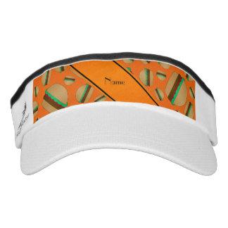Personalized name orange hamburger pattern headsweats visor