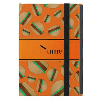 Personalized name orange hamburger pattern cases for iPad mini