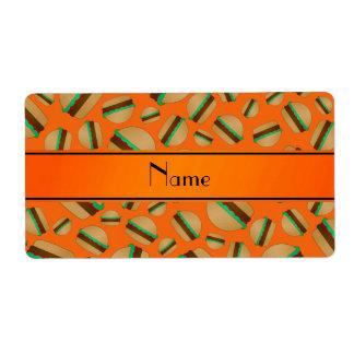 Personalized name orange hamburger pattern personalized shipping labels