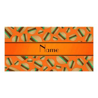 Personalized name orange hamburger pattern photo card template