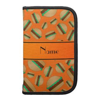 Personalized name orange hamburger pattern folio planners