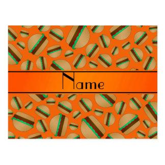 Personalized name orange hamburger pattern postcards