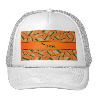 Personalized name orange hamburger pattern trucker hat
