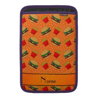 Personalized name orange hamburgers fries dots MacBook sleeves