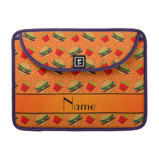 Personalized name orange hamburgers fries dots sleeves for MacBooks