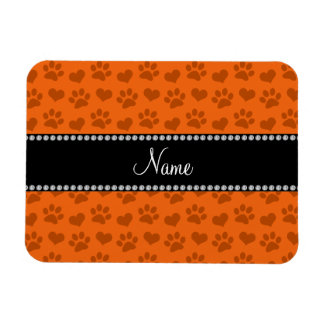 Personalized name orange hearts and paw prints rectangular photo magnet