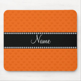 Personalized name orange hearts mouse pad