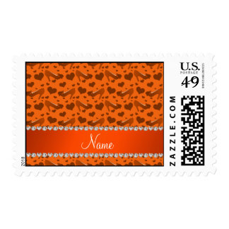 Personalized name orange hearts shoes bows postage