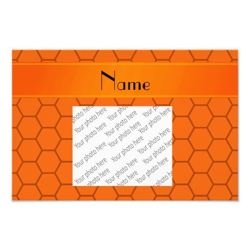 Personalized name orange honeycomb art photo