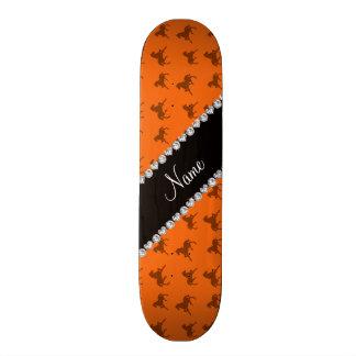 Personalized name orange horse pattern custom skateboard