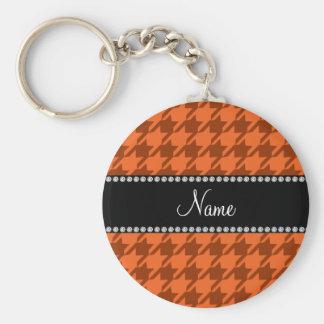 Personalized name orange houndstooth pattern keychain
