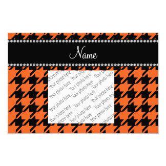 Personalized name orange houndstooth pattern art photo