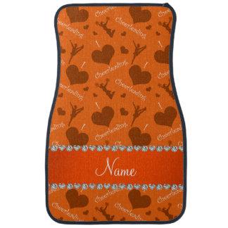 Personalized name orange i love cheerleading heart car floor mat