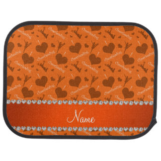 Personalized name orange i love cheerleading heart car mat