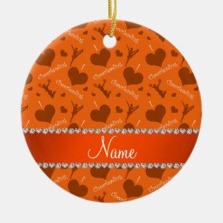 Personalized name orange i love cheerleading heart ceramic ornament