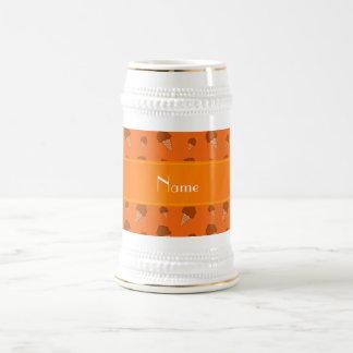 Personalized name orange ice cream pattern 18 oz beer stein