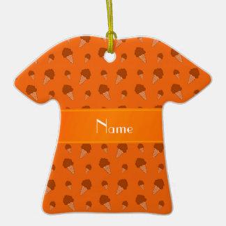 Personalized name orange ice cream pattern ornament