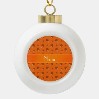 Personalized name orange ice cream pattern ornaments
