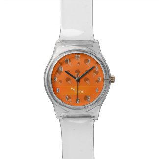 Personalized name orange ice cream pattern watches
