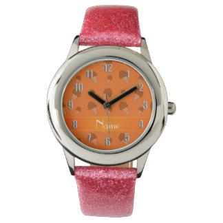 Personalized name orange ice cream pattern wrist watches