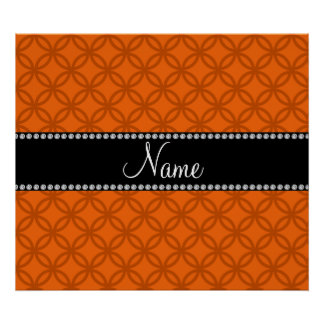 Personalized name orange interlocking circles posters