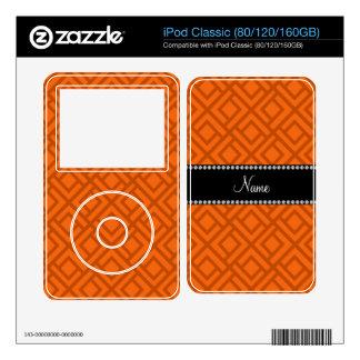 Personalized name orange interlocking triangles iPod skins