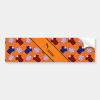 Personalized name orange jerseys rugby balls car bumper sticker